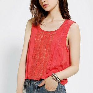 Urban Outfitters Kimchi Blue Lydia Lace Red Top M
